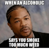WHEN AN ALCOHOLIC SAYS YOU SMOKE TOO MUCH WEED   Smoking Meme on ME.ME
