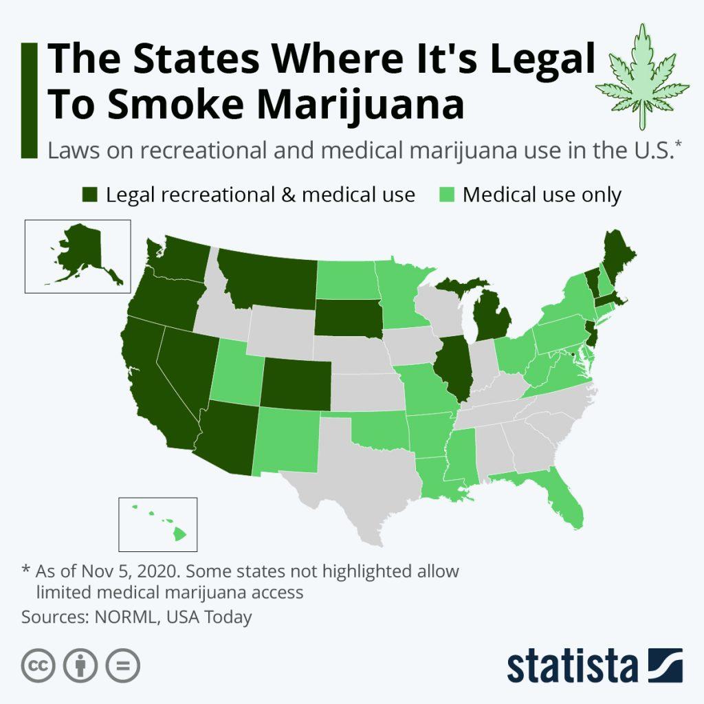 Chart: The States Where It's Legal To Smoke Marijuana   Statista