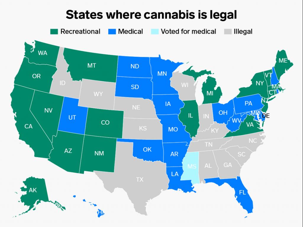 States Where Marijuana Is Legal: Map